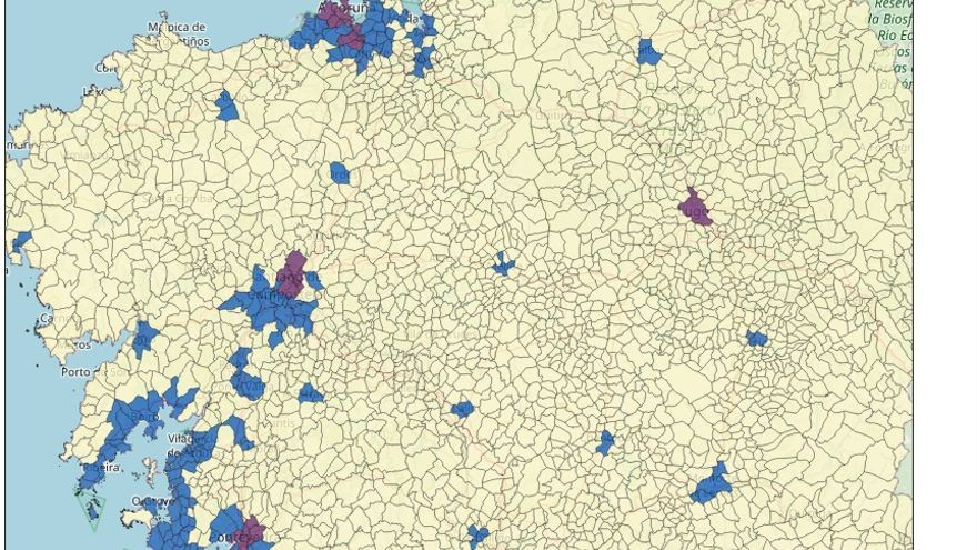 Parroquias de Galicia según su grado de urbanización