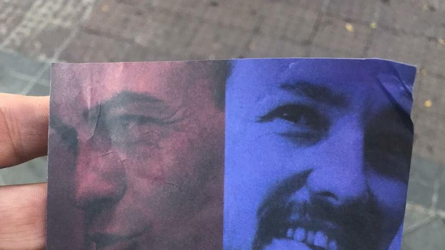 Una de las pegatinas que se han sumado recientemente al despliegue de propaganda que ha empapelado las calles de varias ciudades españolas.