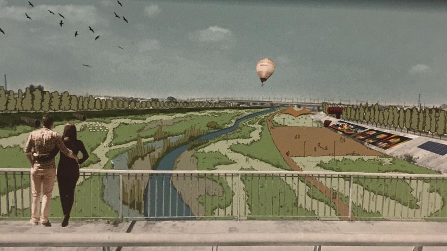 Así quedaría el nuevo cauce, con el caudal de agua al medio, la vegetación y las zonas de esparcimiento en los laterales