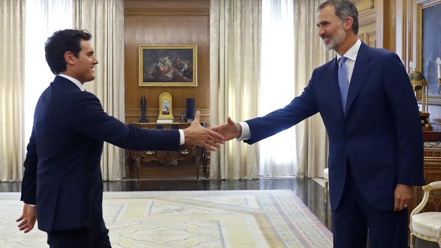 Albert Rivera a su llegada a la ronda de consultas con el rey