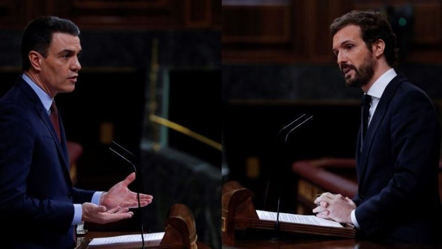 Sánchez y Casado, en el Congreso de los Diputados.