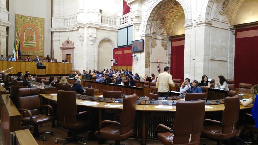 El pleno del Parlamento de Andalucía sin los diputados del PP-A y Podemos.
