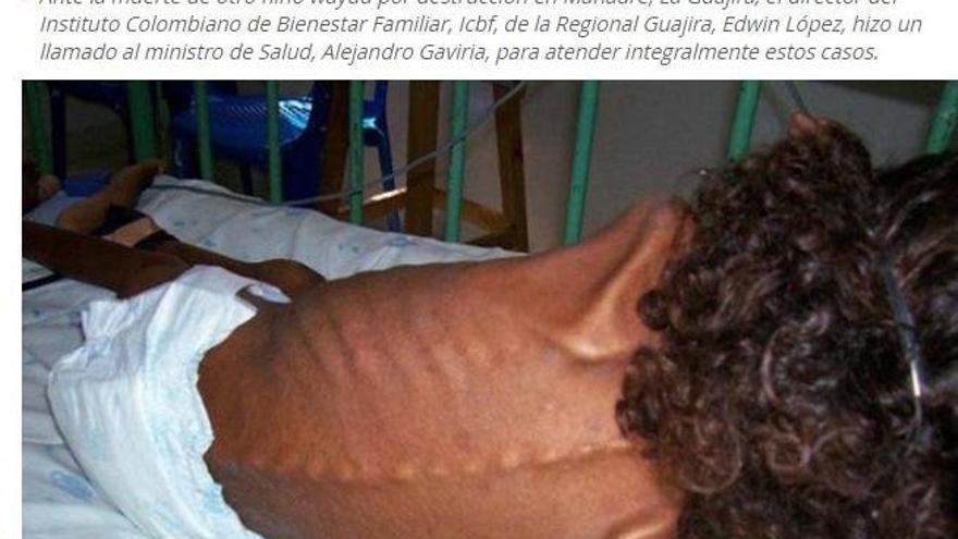 La noticia de la prensa colombiana del 24 de marzo con la misma fotografía de la niña contando que sucedió en Colombia.