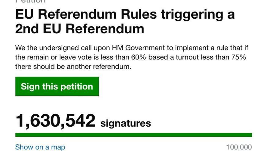 Las firmas recolectadas por la petición de un segundo referéndum ante el Parlamento británico, a las 16.37 horas de este 25 de junio.