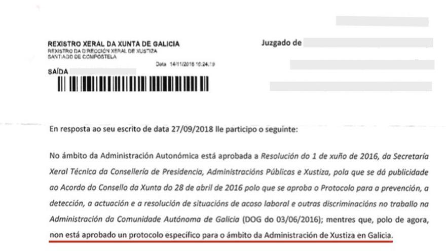 Respuesta de la Xunta en la que admite que el personal de Justicia, que laboralmente depende de la administración autonómica, carece de protocolo contra el acoso laboral