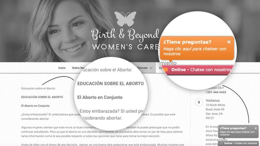 Una de las páginas web en castellano que emplea información sobre el aborto como gancho para difundir tesis antiabortistas.