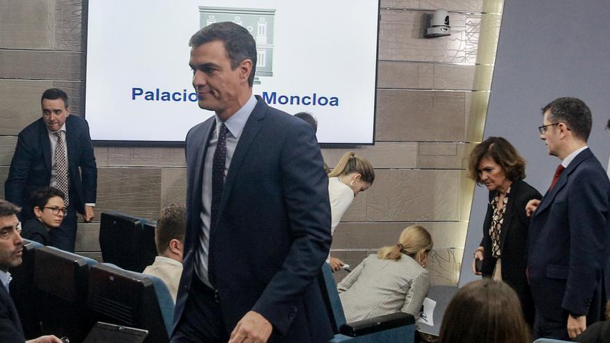 Pedro Sánchez, tras su declaración institucional sin preguntas tras conocerse la sentencia del Tribunal Supremo sobre el procés.
