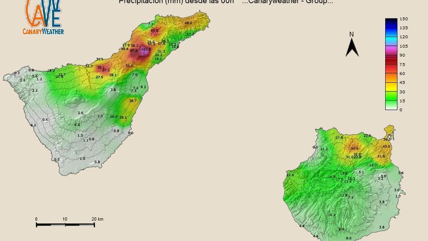 Mapa de precipitaciones en Tenerife y Gran Canarias, hasta las 24.00 de este jueves