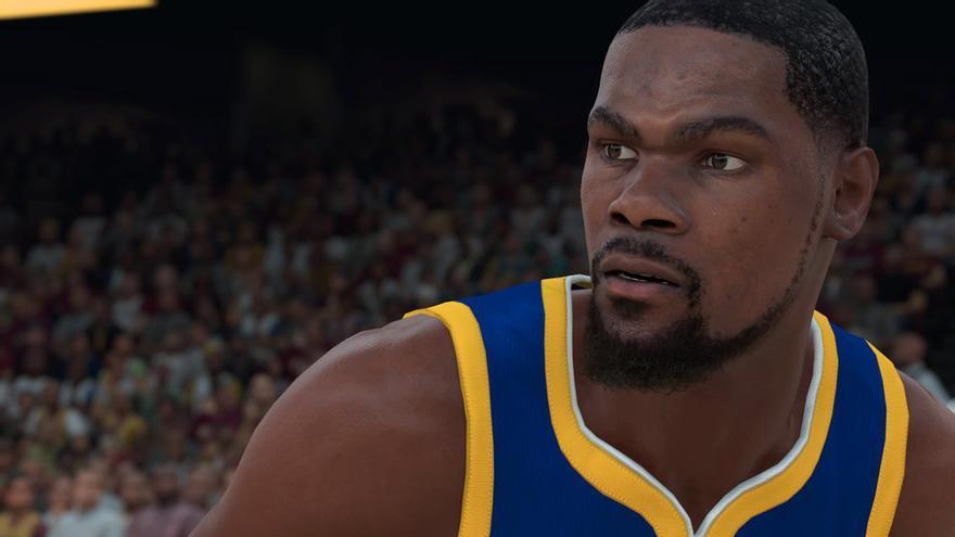 Kevin Durant aplicándose en defensa en el NBA 2K18