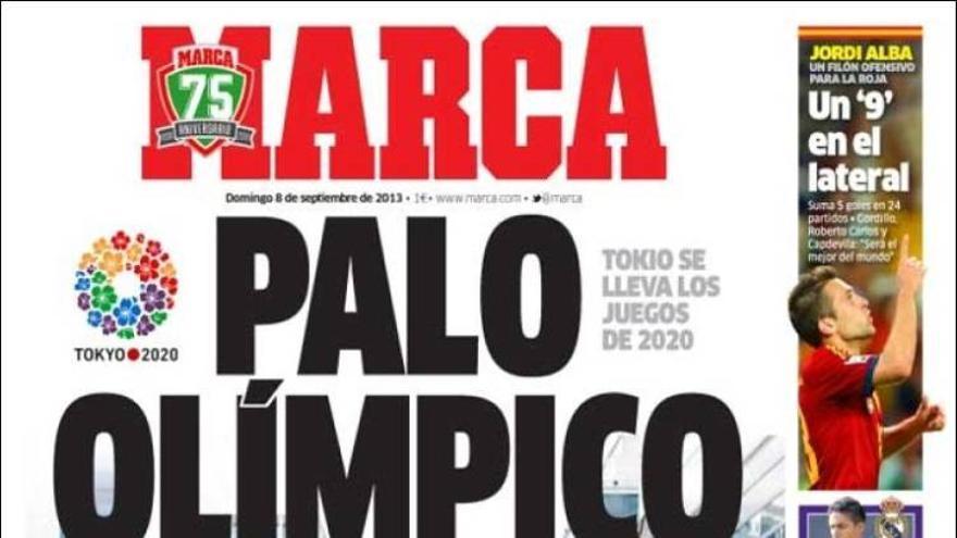 'Palo Olímpico', la ortada de Marca tras la derrota de Madrid 2020. Fuente: Kiosko.net