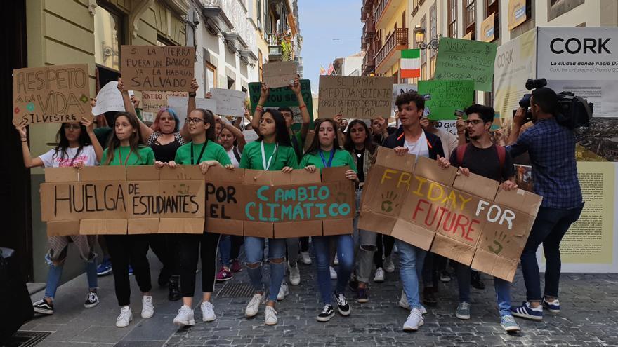 Marcha contra el calentamiento global en la Calle Real de Santa Cruz de La Palma.