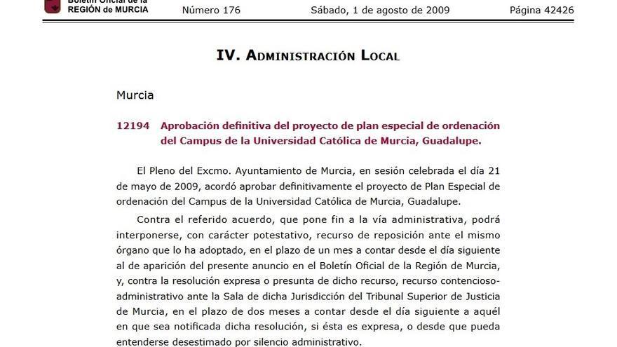 Publicación del Plan Especial para ampliación del Campus de San Jerónimo en el BORM, el 1 de enero de 2009