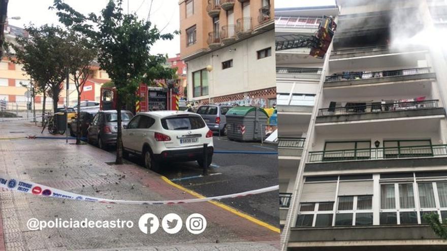 Rescate tras incendio en una vivienda en Castro