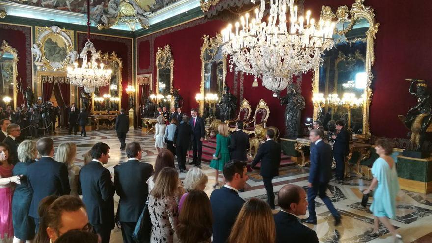 La recepción de los reyes en el Palacio Real con motivo del 12 de octubre.