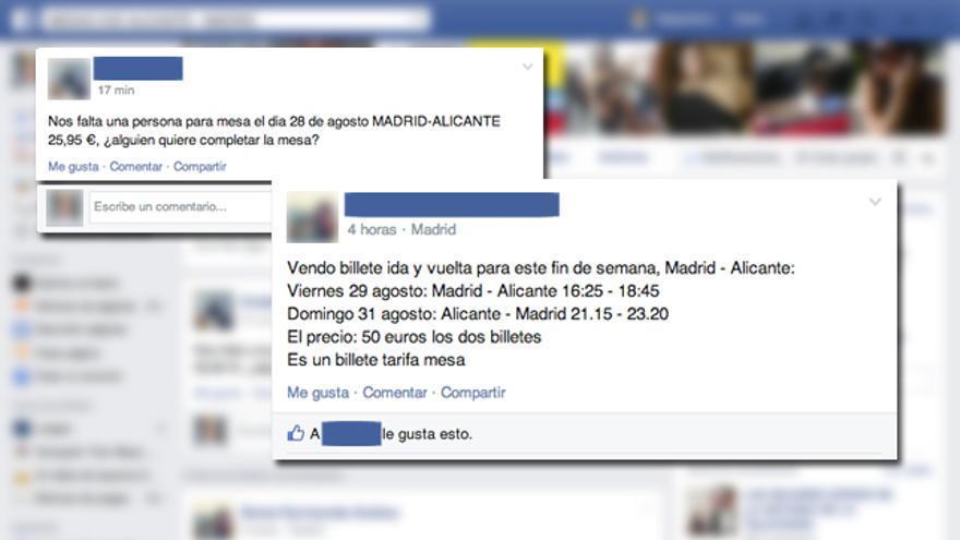 Captura del grupo de Facebook MESAS AVE ALICANTE - MADRID