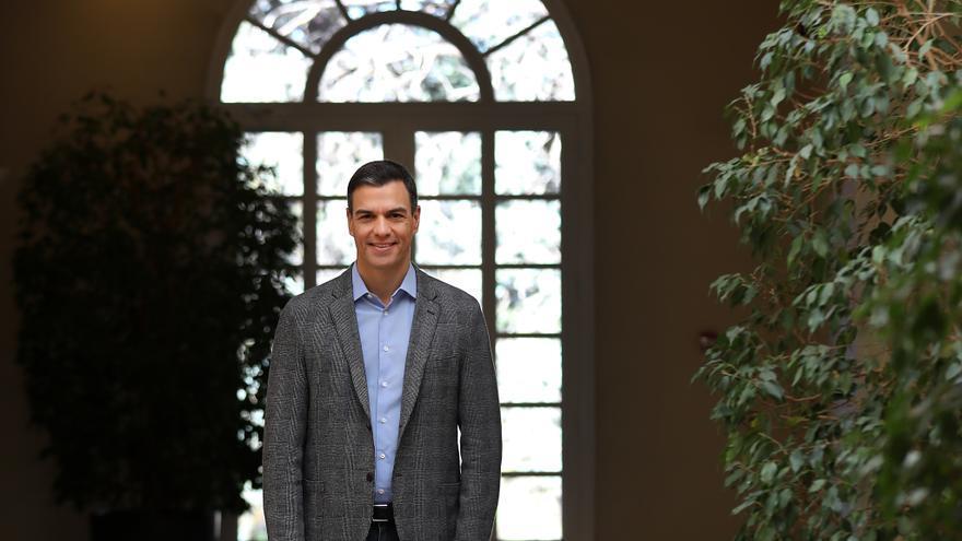 El presidente del Gobierno, Pedro Sanchez, en el Palacio de la Moncloa.