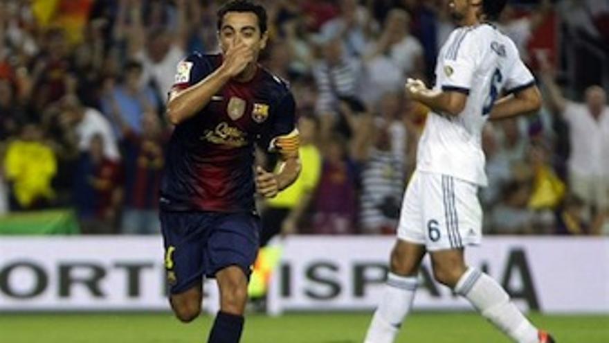 Xavi celebra el tercer tanto del Barça. (Europa Press)