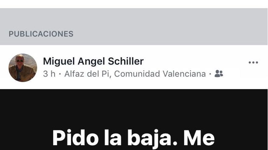 Comentario en Facebook de Miguel Ángel Schiller