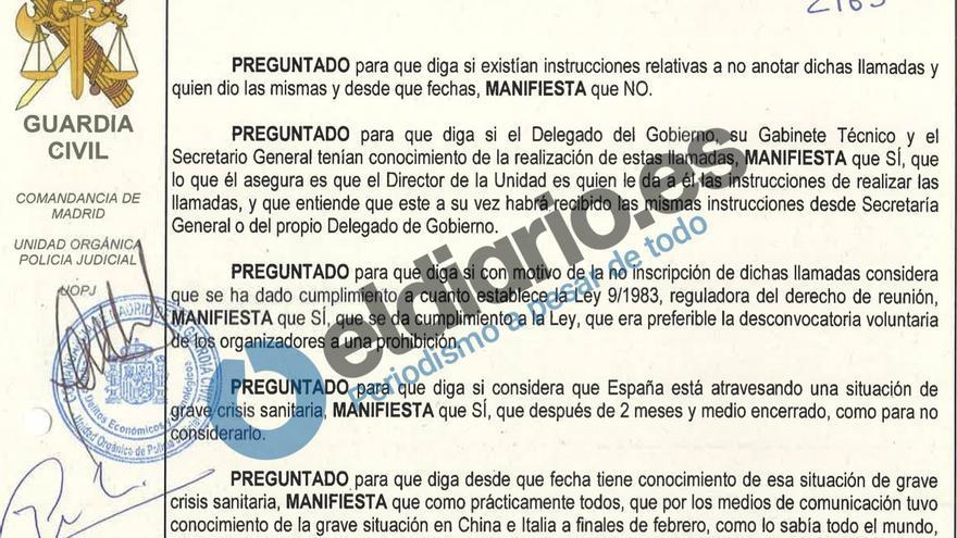 Fragmento de la declaración de un trabajador de la Delegación del Gobierno recogida por la Guardia Civil que indica que no recibió instrucción alguna para no anotar las llamadas
