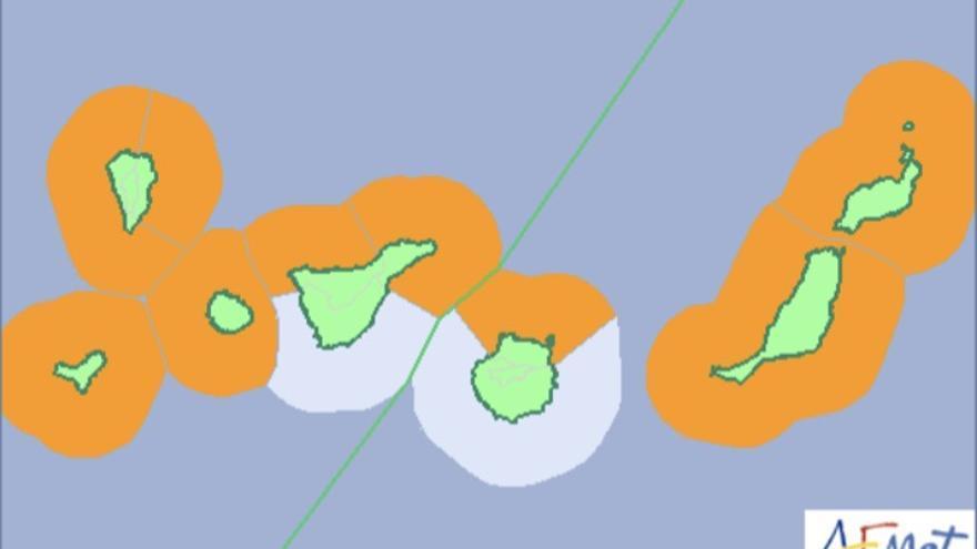 Mapa de la Aemet de los avisos de riesgo por fenómenos costeros para este martes.