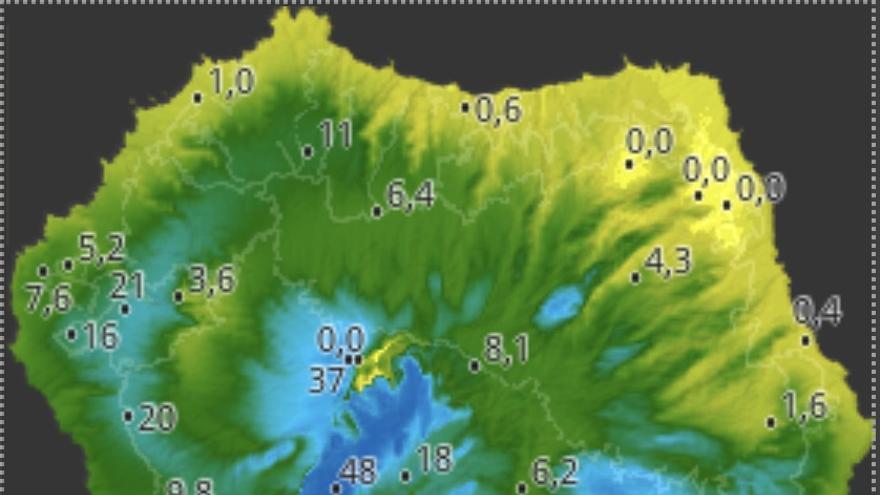 Mapa de HD Meteo La Palma de la lluvia caída, hasta las 19.20 horas de este viernes, 3 de abril, en varios puntos de La Palma.