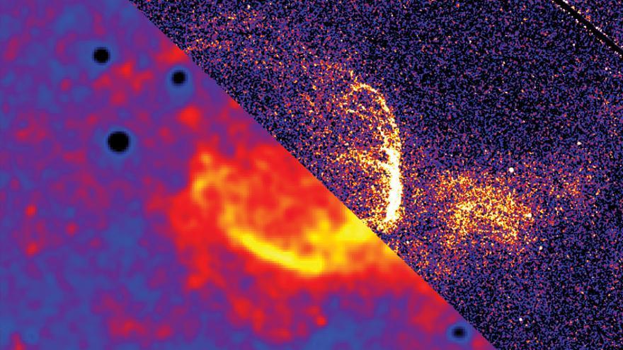 Composición de imágenes obtenidas con el Telescopio Liverpool (abajo a la izquierda) y con el Telescopio Espacial Hubble (arriba a la derecha). El remanente de la nova M31N 2008–12a está situado en el centro de la imagen.