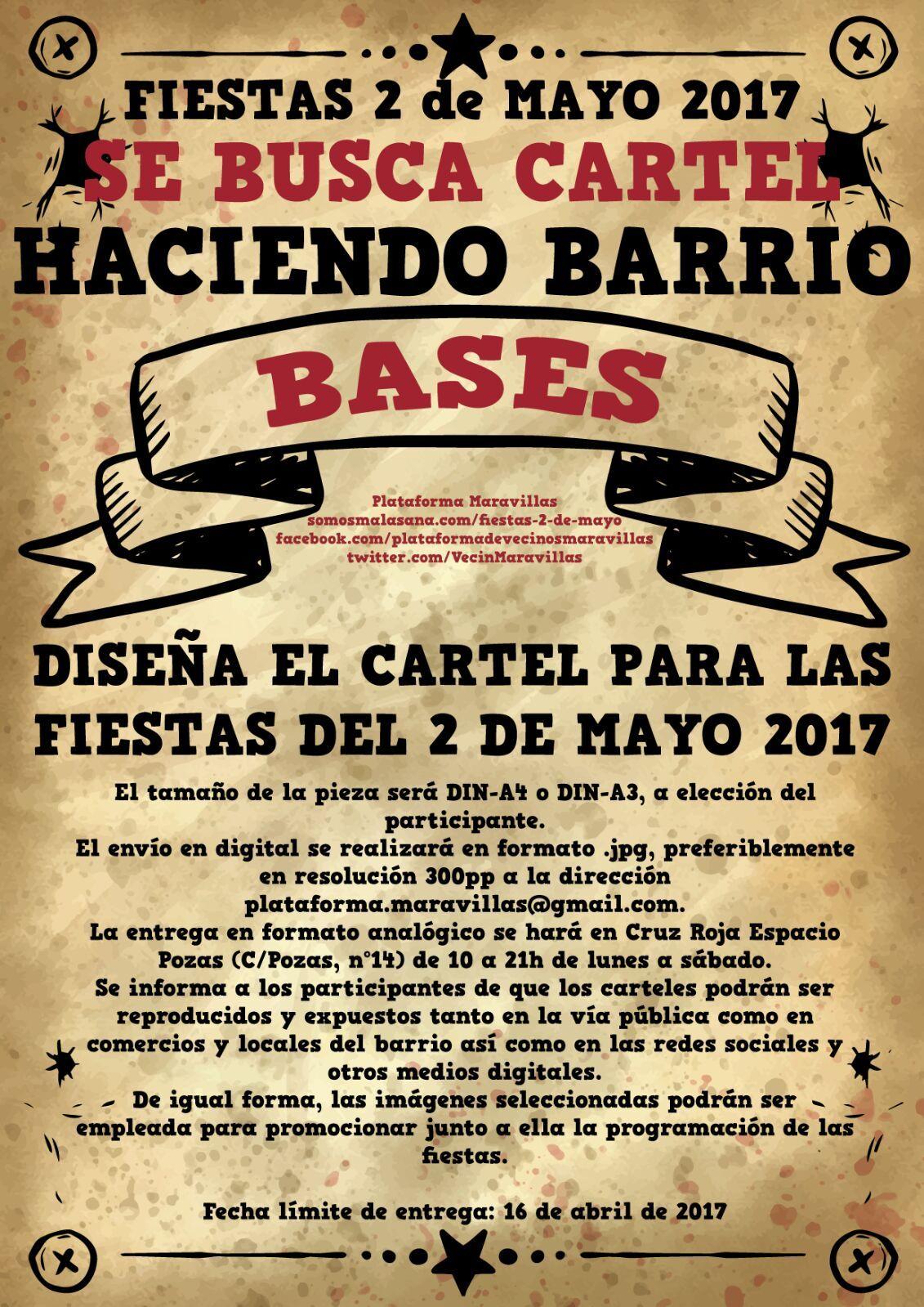 Se busca cartel para las fiestas del 2 de mayo de 2017 for Eventos madrid mayo 2017