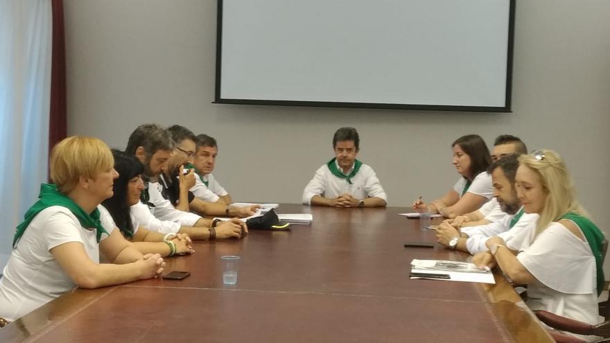 Junta de portavoces del pasado lunes en el Ayuntamiento de Huesca