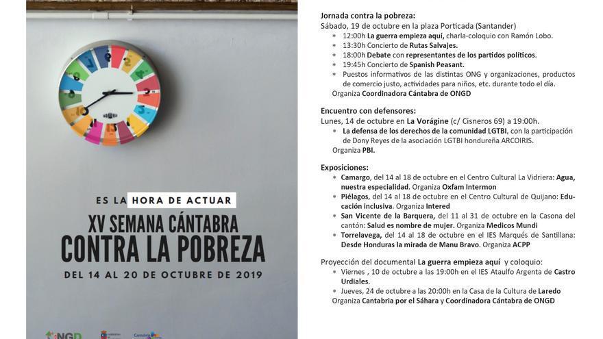 Programa de la XV Semana Cántabra contra la Pobreza.