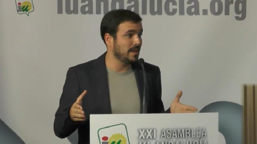 Alberto Garzón, durante su intervención en la asamblea de IU en Andalucía