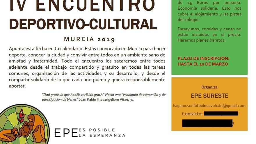 Cartel de una actividad organizada por Es Posible la Esperanza (EPE) este 2019.