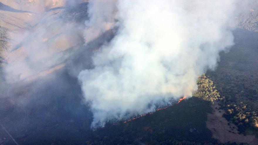 Vista del incendio de Folgoso do Courel, fotografiado por bomberos forestales