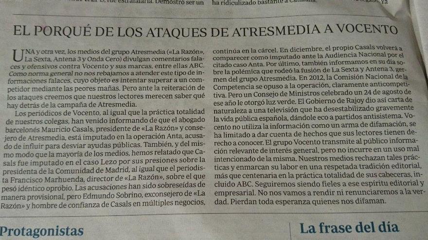 Editorial de ABC sobre La Razón