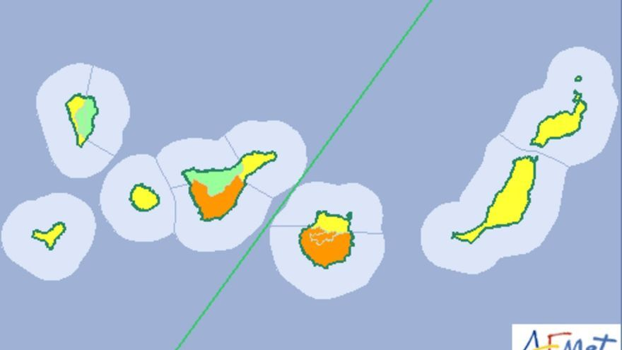 Mapa de la Aemet del aviso de riesgo por altas temperaturas el miércoles, 20 de julio de 2016.