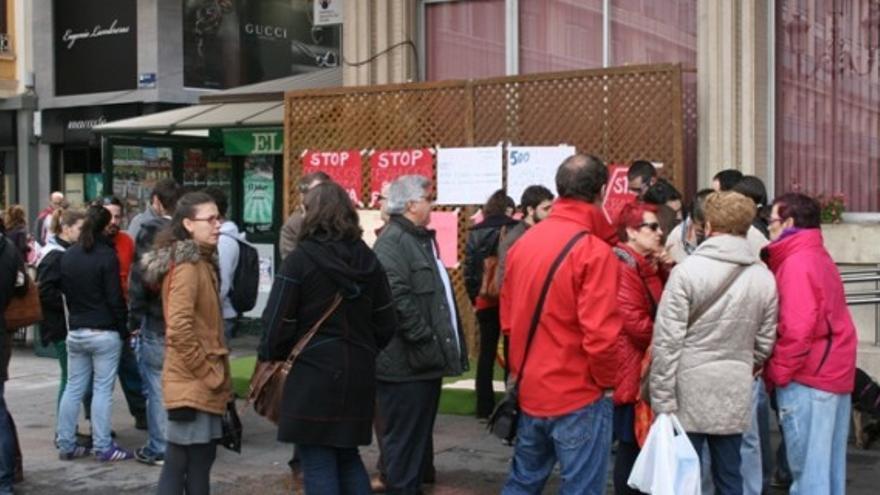 Protesta donde fueron multados los miembros de la Plataforma