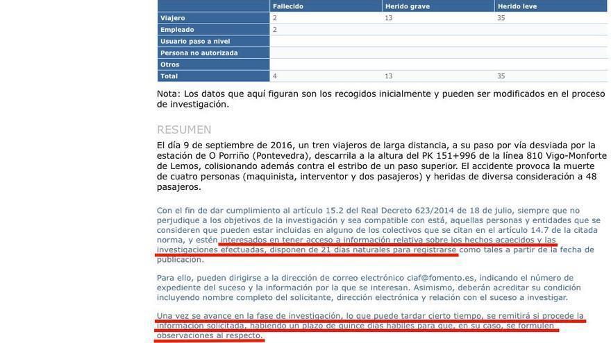 Web de la Comisión de Investigación de Accidentes Ferroviarios (CIAF) con el proceso para que las víctimas participen