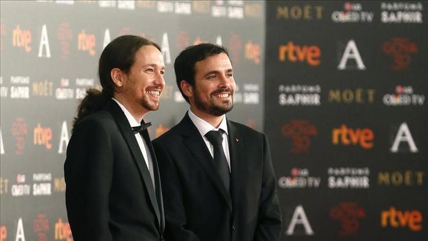 Pablo Iglesias y Alberto Garzón, antes de la gala de los Goya, su última imagen juntos.