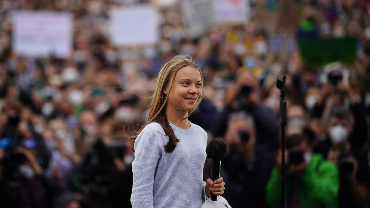 La activista climática sueca Greta Thunberg en la jornada de acción climática mundial Fridays For Future en Berlín.