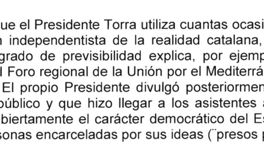 Detalle de párrafo del informe del ministerio de Exteriores sobre las oficinas exteriores de la Generalitat
