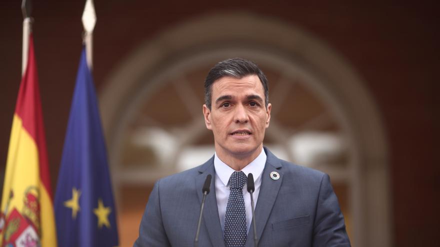 El presidente del Gobierno, Pedro Sánchez, en rueda de prensa en el Palacio de la Moncloa.