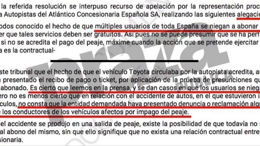 Recurso de Audasa dudando de que un conductor accidentado pagase el peaje y rechazo de la Audiencia de A Coruña