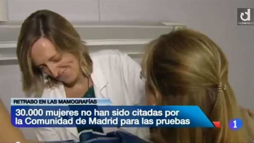 Información del TVE sobre la suspensión de las mamografías preventivas en la Comunidad de Madrid.