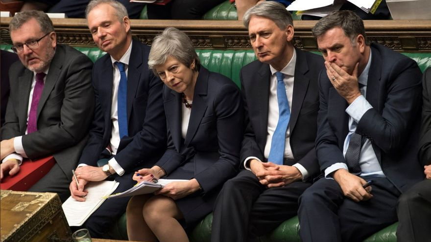 La primera ministra británica, Theresa May, durante una sesión en la Cámara de los Comunes.