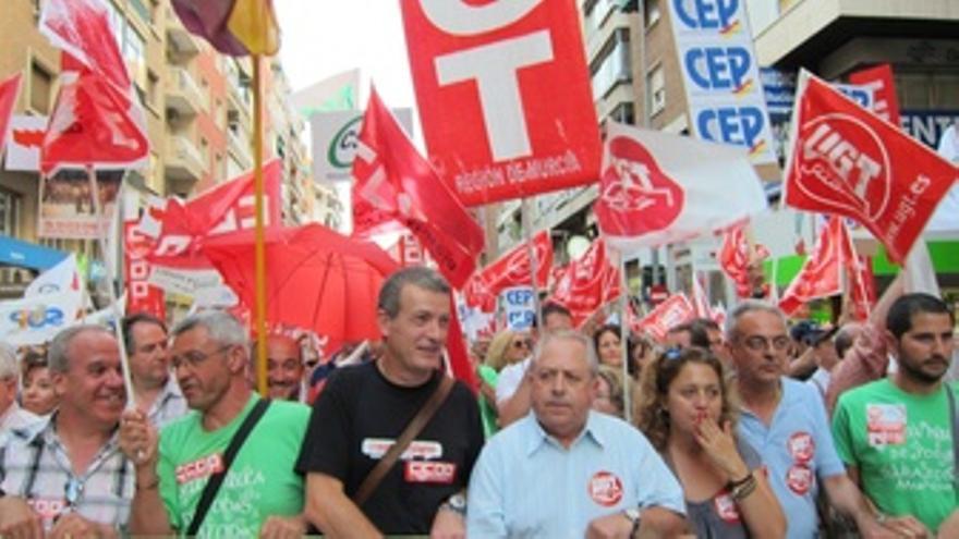 Manifestación convocada por UGT y CCOO contra recortes