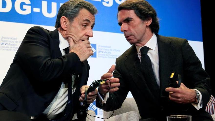 Aznar y Sarkozy, este martes, en la Universidad Francisco de Vitoria de Madrid.
