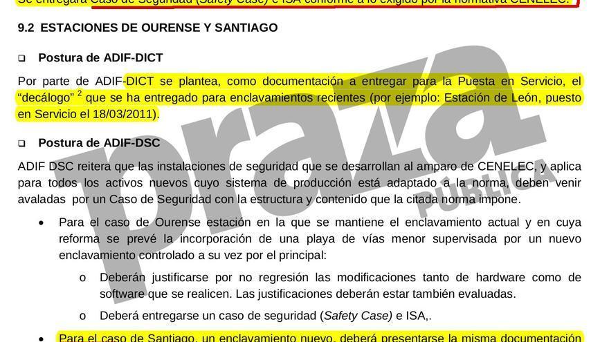 Acta en la que Adif admite la necesidad de una evaluación independiente de riesgos para el tramo de Santiago en el que está la curva de Angrois