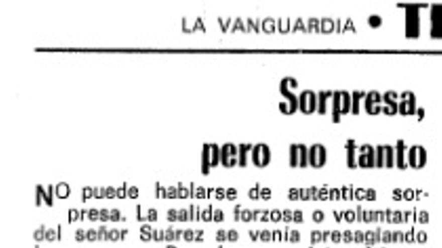 Fragmento de la columna de opinión tras la dimisión de Suárez