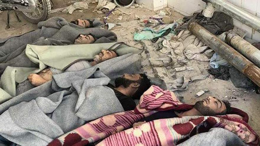 Fotos de las víctimas del ataque hechas públicas por grupos de activistas de Idlib.