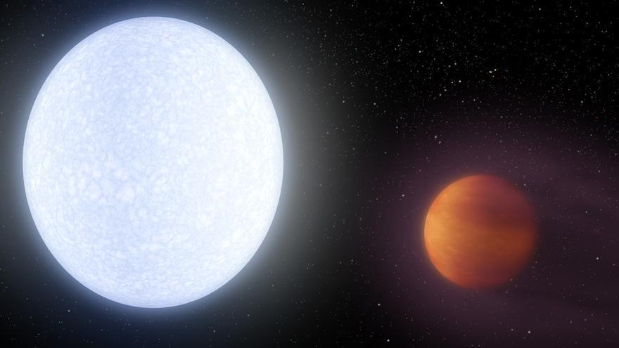 Ilustración de un Jupiter muy caliente similar a  MASCARA-2b/KELT-20b. Créditos: NASA/JPL-Caltech