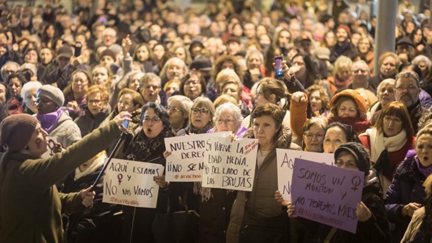 Concentración feminista en Zaragoza del pasado 15 de enero